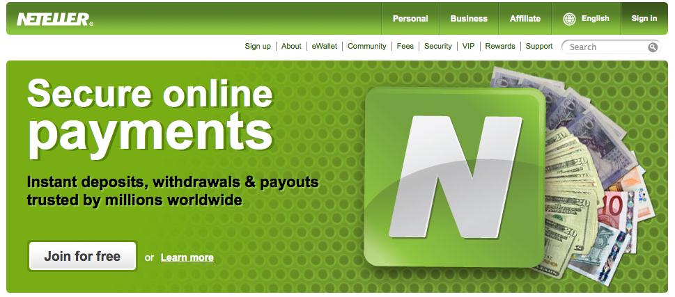 Neteller Site Screenshot